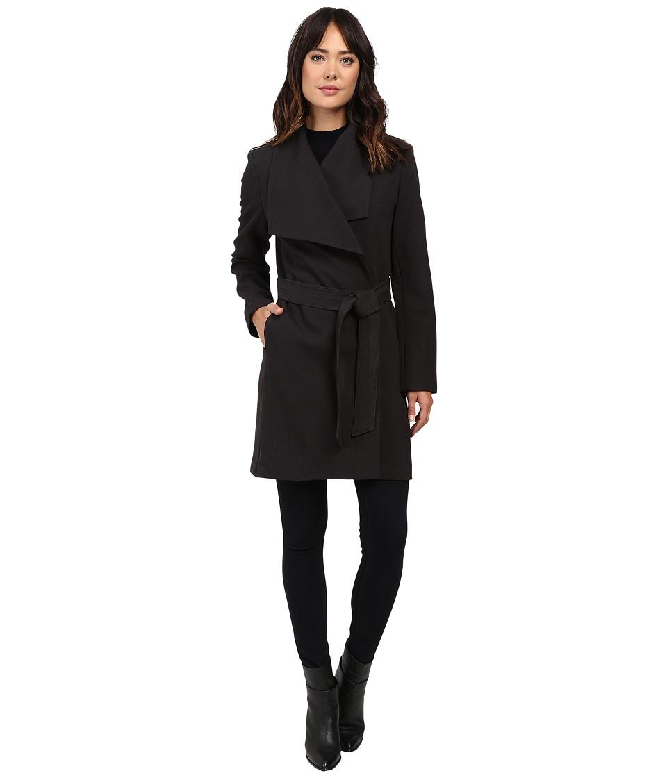 LAUREN Ralph Lauren - Crepe Drape Front Wrap (Charcoal) Women's Coat