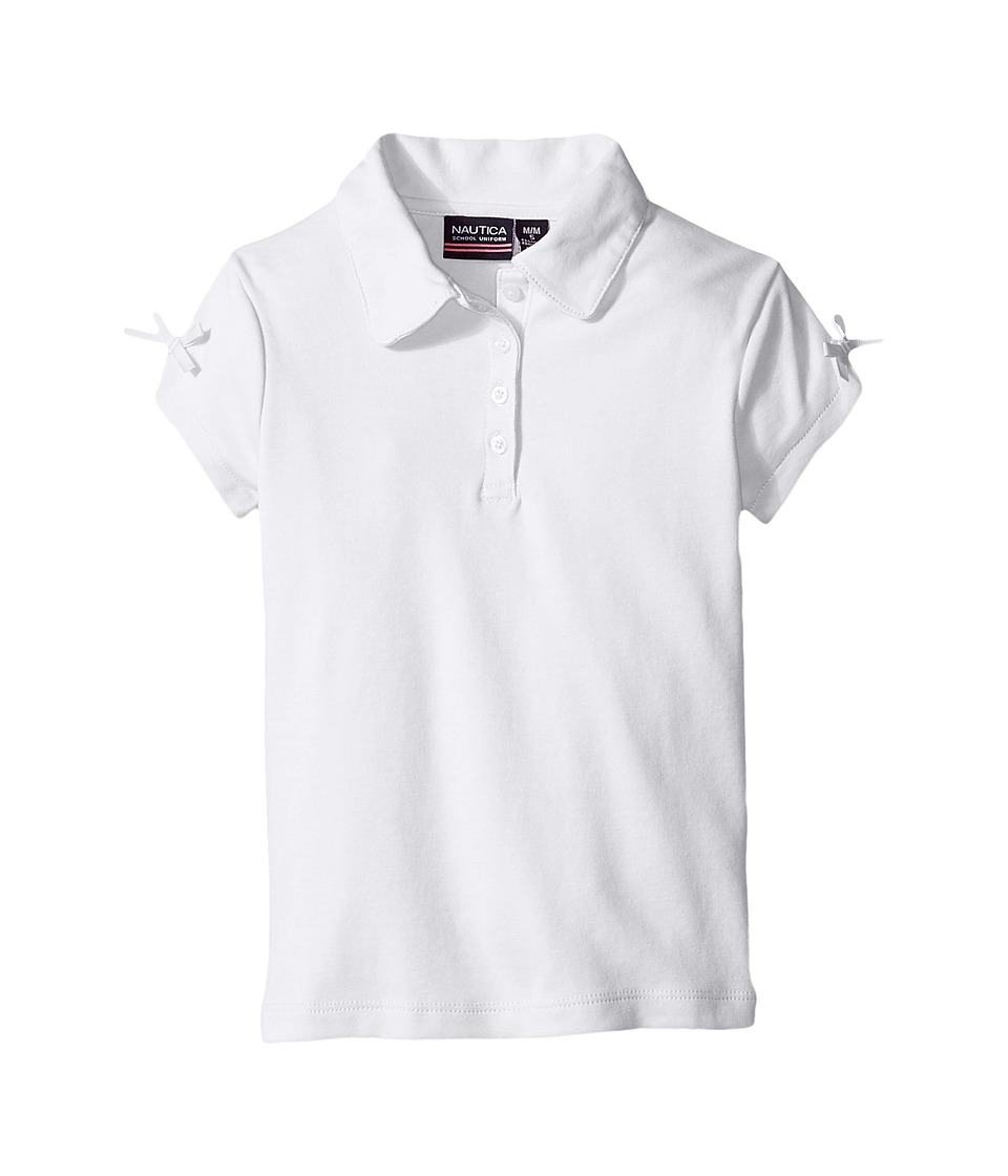 Nautica Kids - Short Sleeve Polo with Bow At Sleeve (Little Kids) (White) Girl's Short Sleeve Pullover