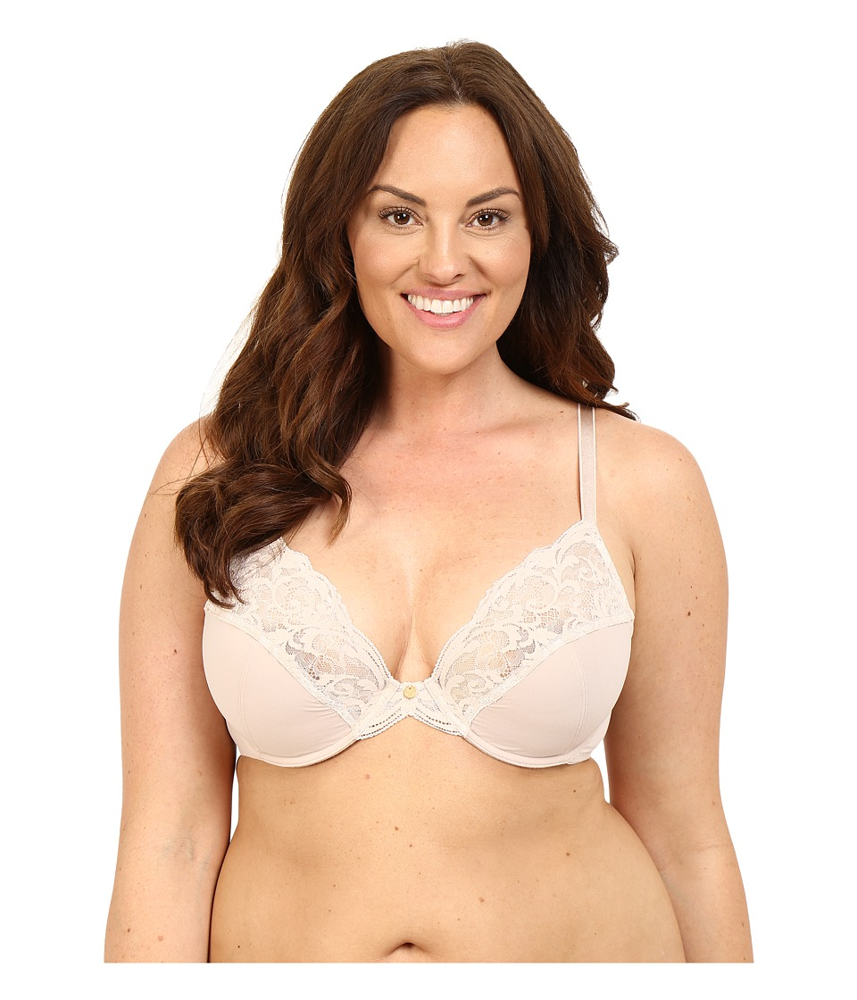 Natori - Envious Full Figure Plunge Cut Sew Underwire 736133 (Light Caf /Ivory) Women's Bra