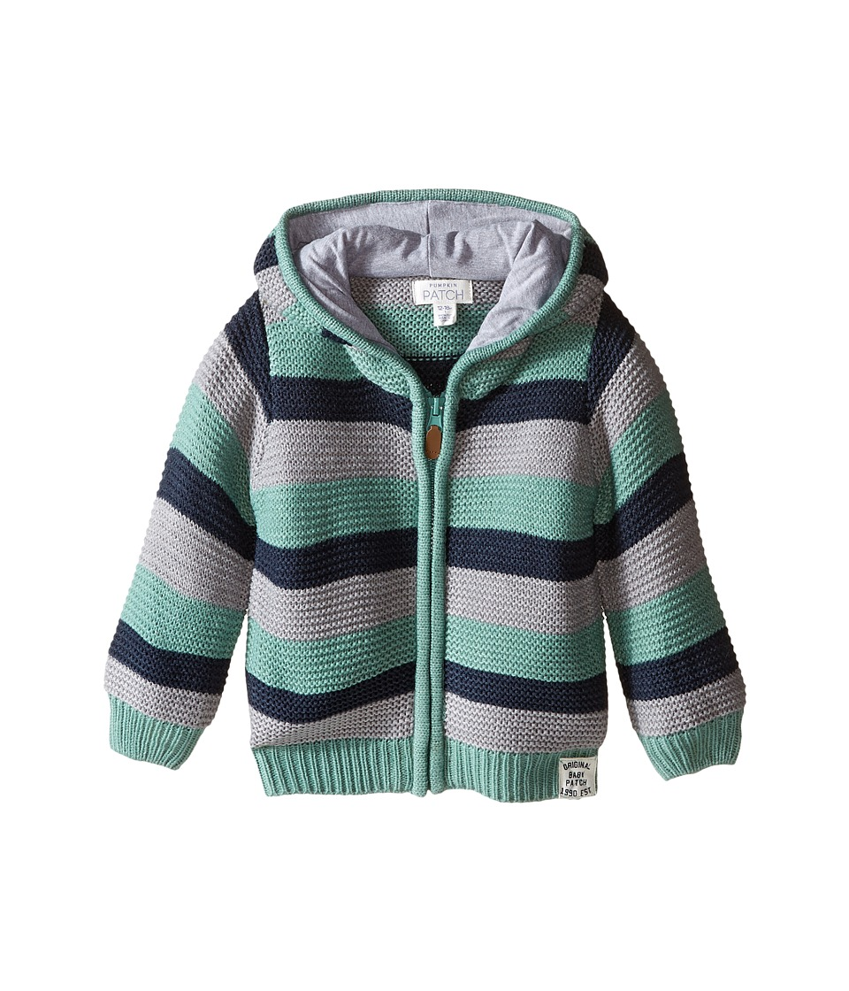 Pumpkin Patch Kids - Striped Knit Cardigan (Infant) (Canton Green) Boy's Sweater