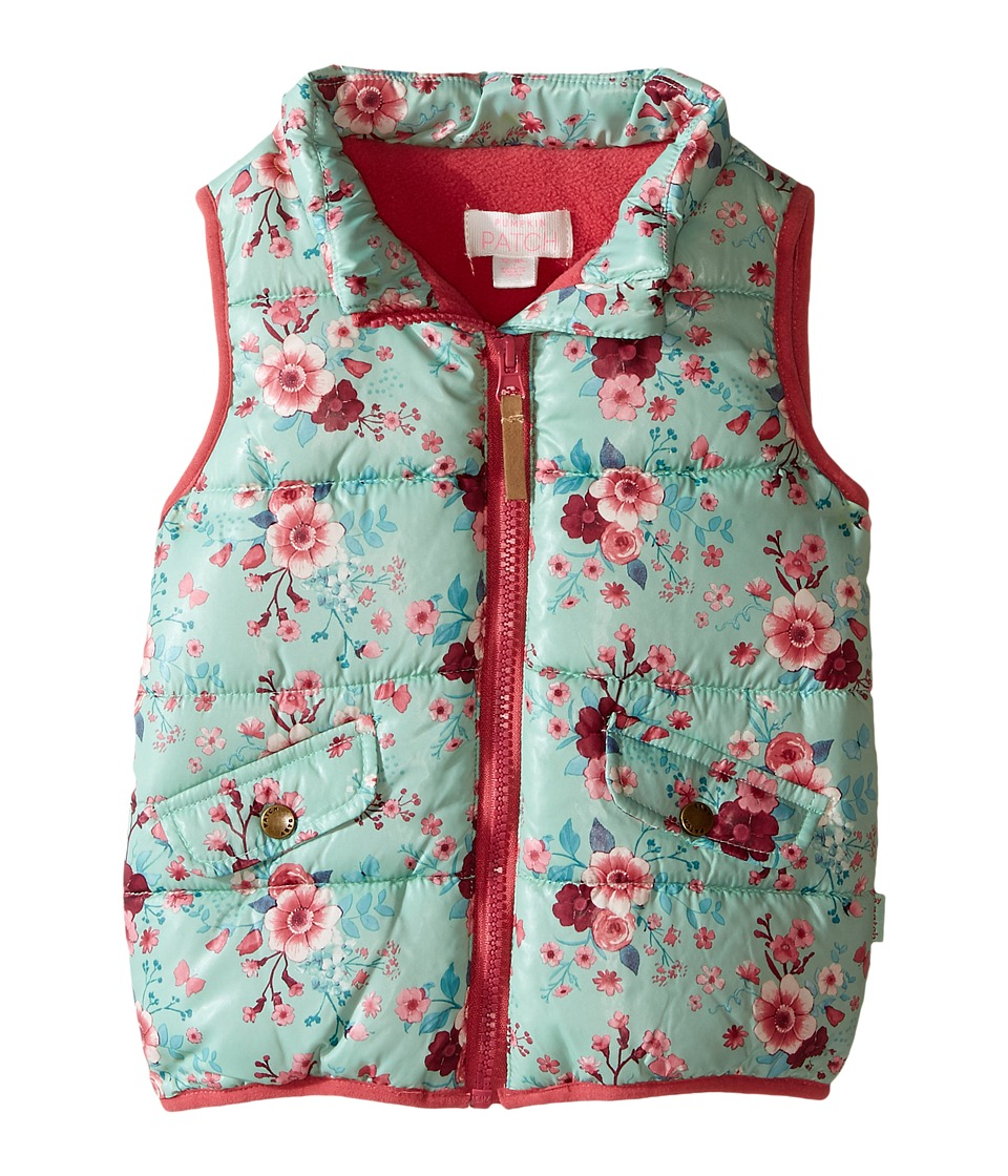 Pumpkin Patch Kids - Floral Puffer Vest (Infant) (Lichen) Girl's Vest