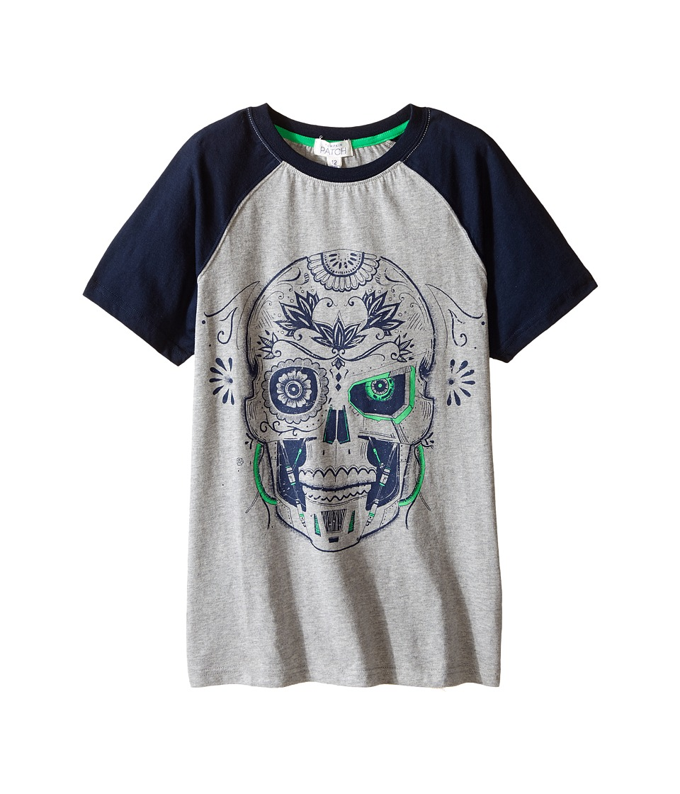 Pumpkin Patch Kids - Raglan Skull Tee (Little Kids/Big Kids) (Athletic Marle) Boy's T Shirt