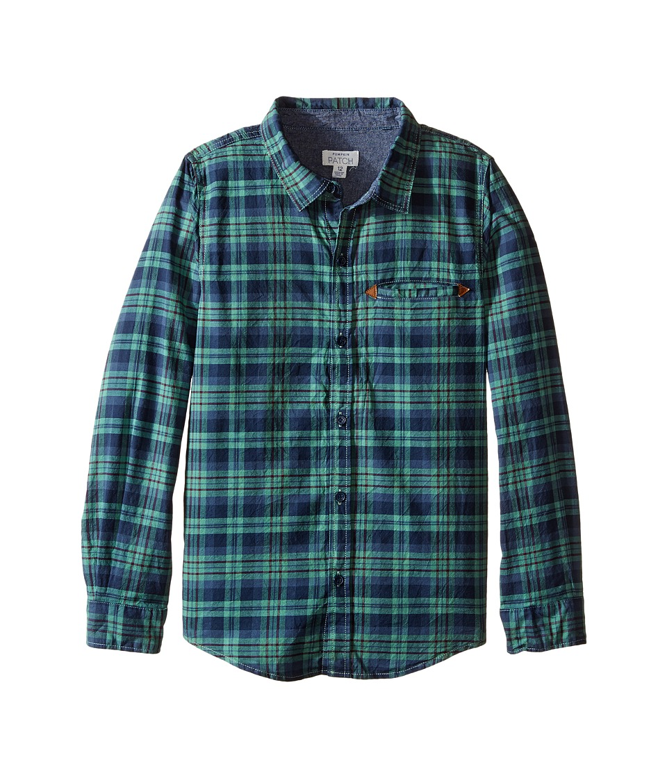 Pumpkin Patch Kids - Green Checked Long Sleeve Shirt (Little Kids/Big Kids) (Canton Green) Boy's T Shirt