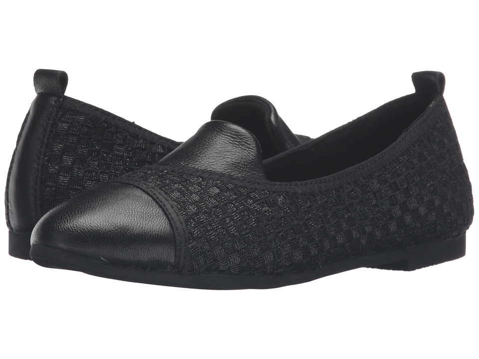 bernie mev. - Sola (Black Metallic/Black Leather) Women's Flat Shoes