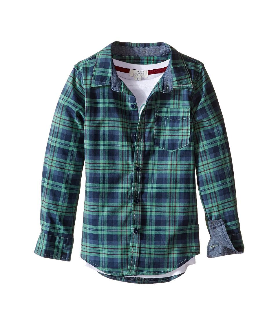 Pumpkin Patch Kids - Mock Long Sleeve Shirt Tee (Infant/Toddler/Little Kids/Big Kids) (Canton Green) Boy's T Shirt