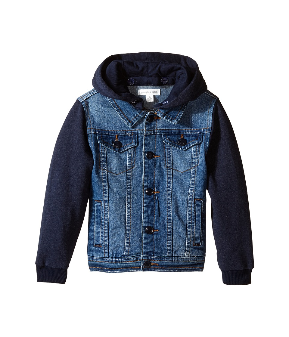 Pumpkin Patch Kids - Hooded Denim Jacket (Infant/Toddler/Little Kids) (Denim) Boy's Coat