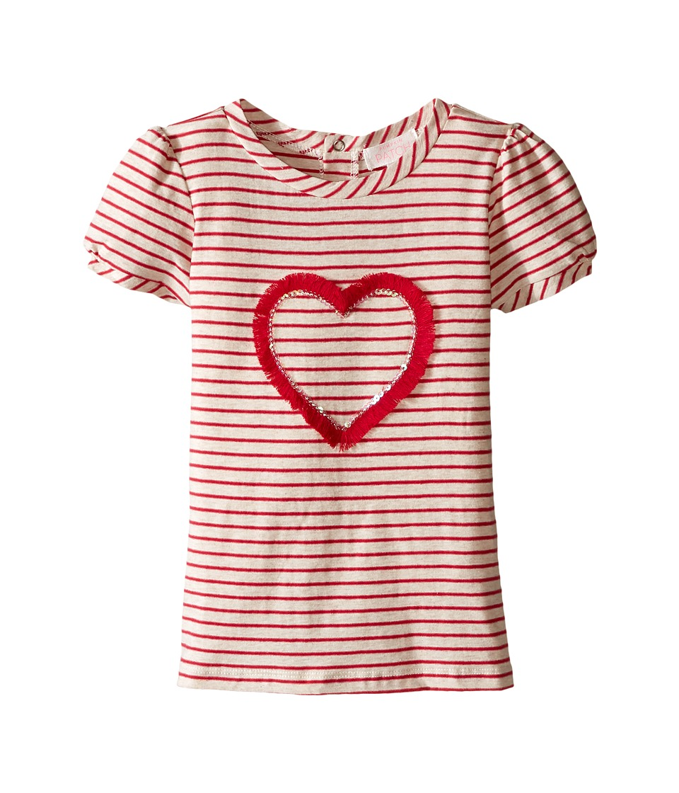 Pumpkin Patch Kids - Sequin Heart Stripe Top (Infant/Toddler/Little Kids/Big Kids) (Oatmeal Marle) Girl's Clothing