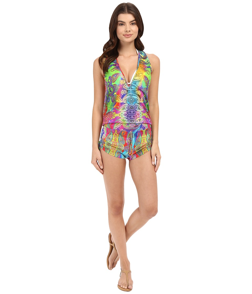 Luli Fama - Barefoot Free T-Back Romper Cover-Up (Multicolor) Women's Jumpsuit & Rompers One Piece