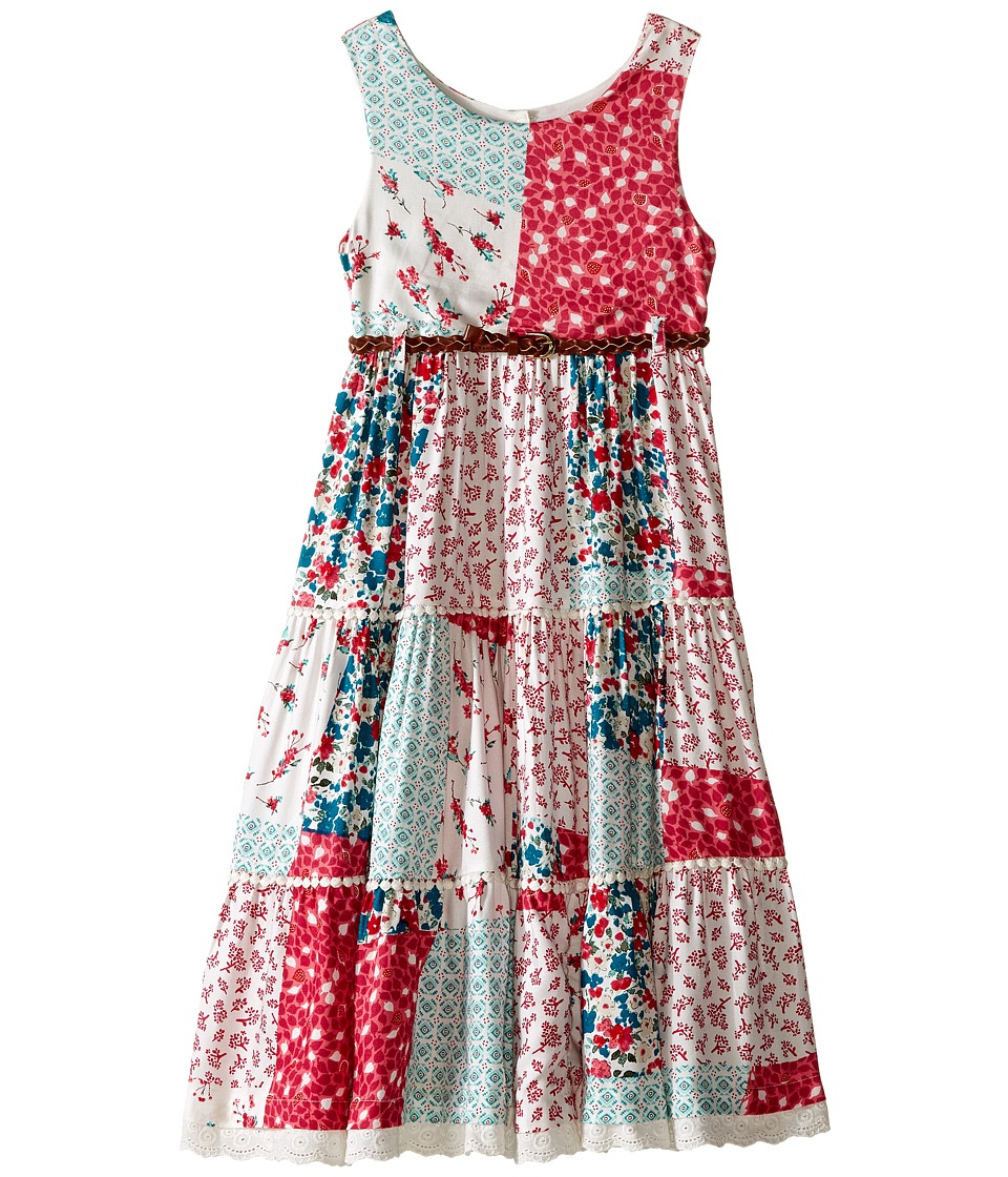 Pumpkin Patch Kids - Patchwork Tiered Dress (Infant/Toddler/Little Kids/Big Kids) (Raspberry Fizz) Girl's Dress
