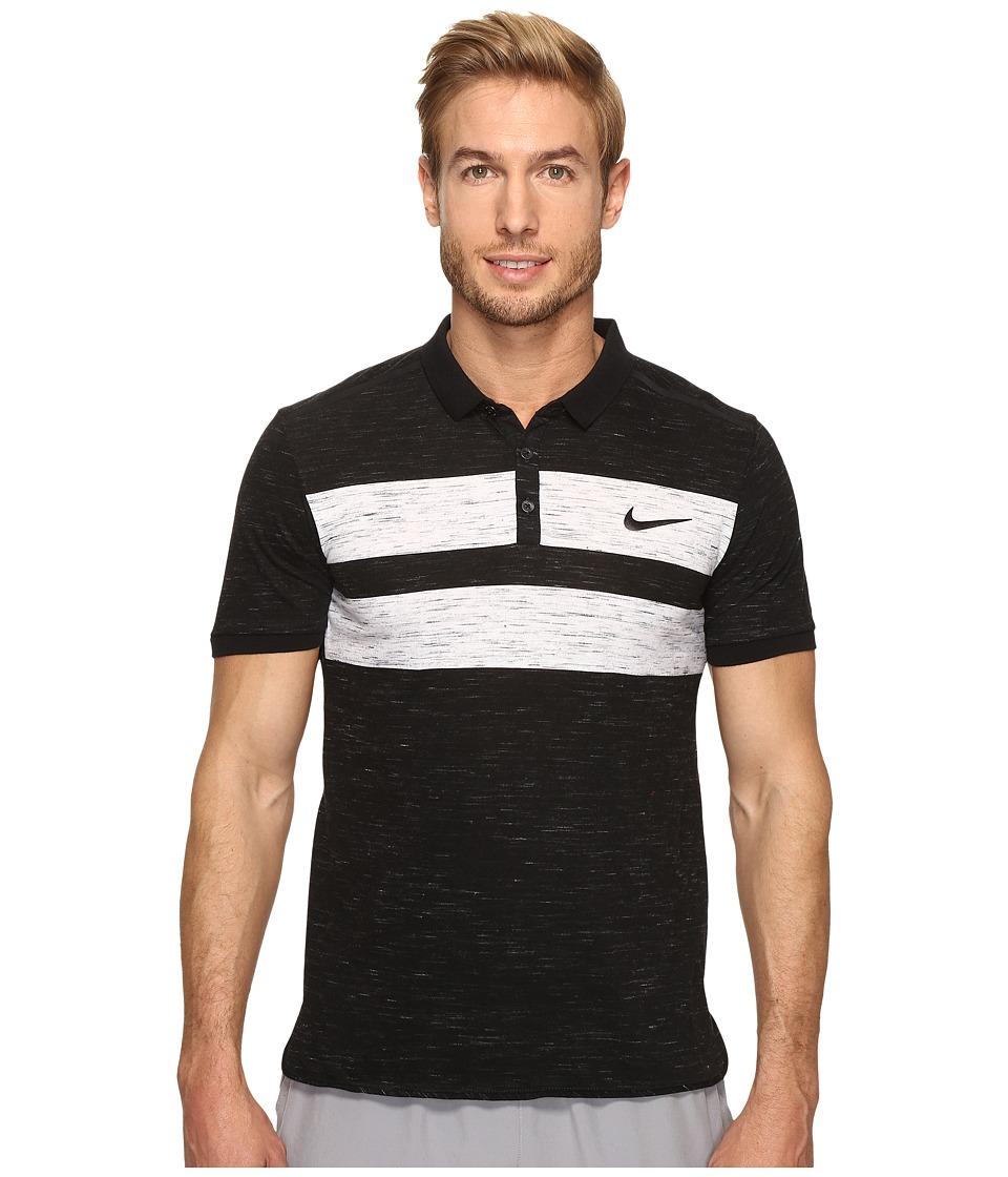 Nike - Court Dry Advantage Tennis Polo (Black/White/Black) Men's Clothing