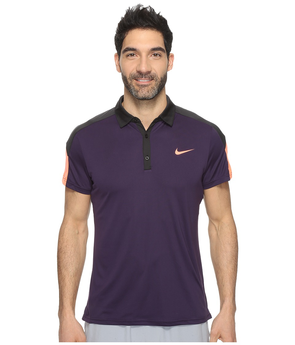 Nike - Team Court Polo (Purple Dynasty/Black/Bright Mango) Men's Short Sleeve Pullover
