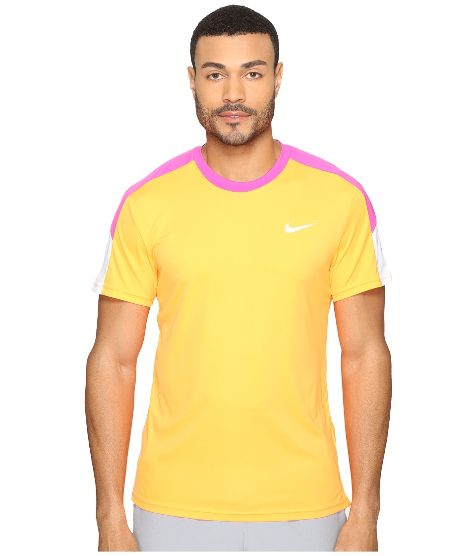 Nike - Court Tennis Shirt (Bright Citrus/Fire Pink/White/White) Men's T Shirt