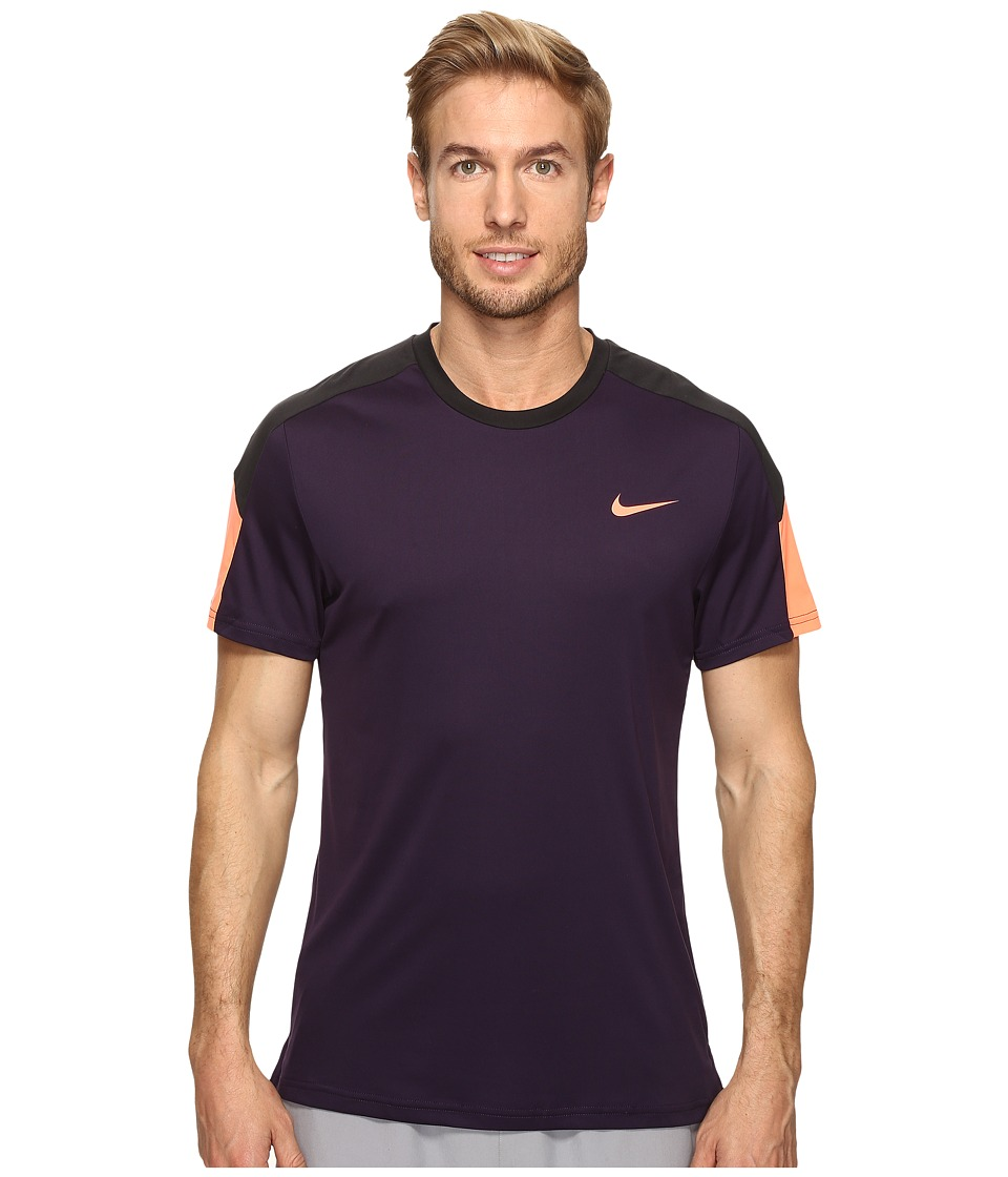 Nike - Court Tennis Shirt (Purple Dynasty/Black/Bright Mango) Men's T Shirt