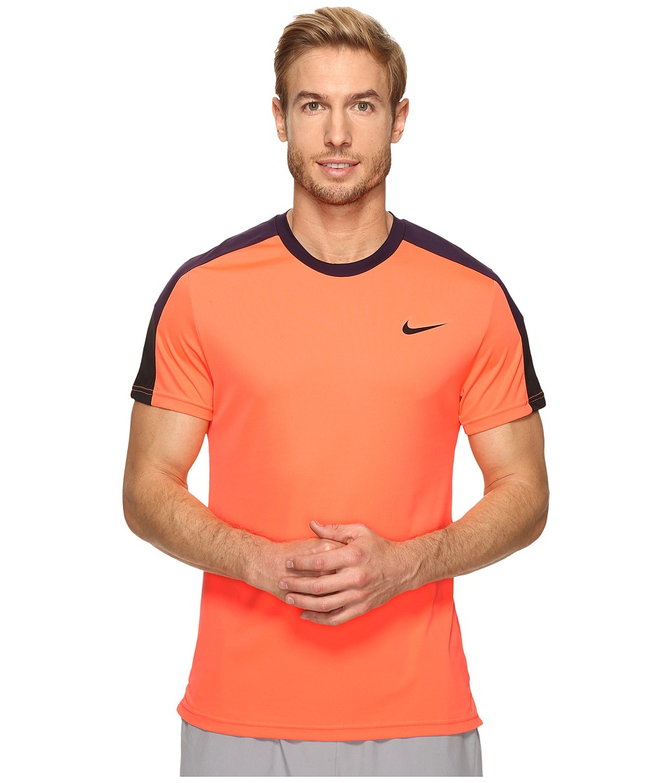 Nike - Court Tennis Shirt (Bright Mango/Purple Dynasty/Black/Black) Men's T Shirt