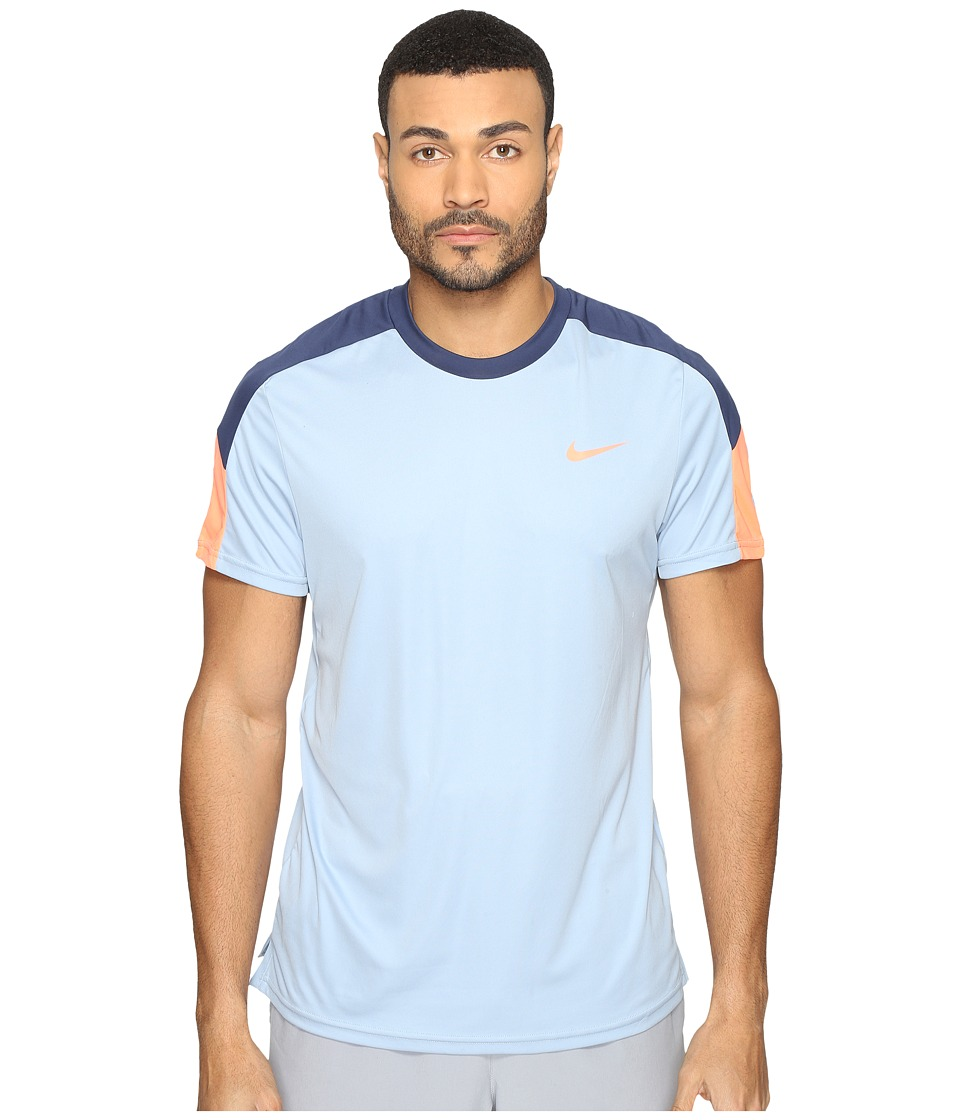 Nike - Court Tennis Shirt (Blue Grey/Midnight Navy/Bright Mango) Men's T Shirt