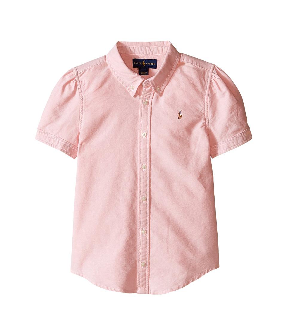 Polo Ralph Lauren Kids - Classic Solid Oxford Shirt (Little Kids) (BSR Pink) Girl's Long Sleeve Button Up