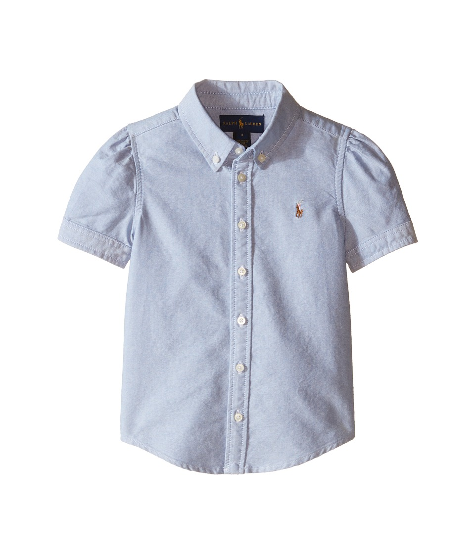 Polo Ralph Lauren Kids - Classic Solid Oxford Shirt (Little Kids) (BSR Blue) Girl's Long Sleeve Button Up