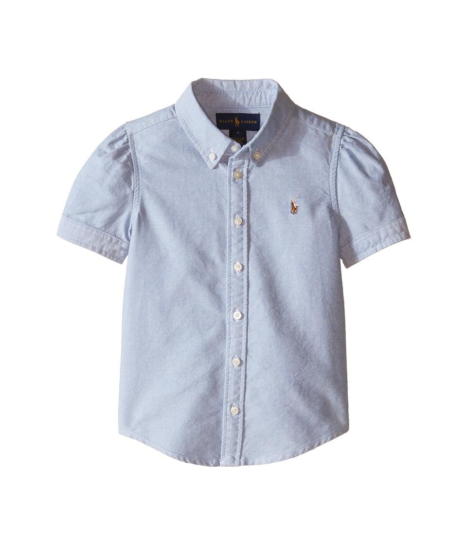 Polo Ralph Lauren Kids - Classic Solid Oxford Shirt (Little Kids) (BSR Blue) Girl's Long Sleeve Button Up