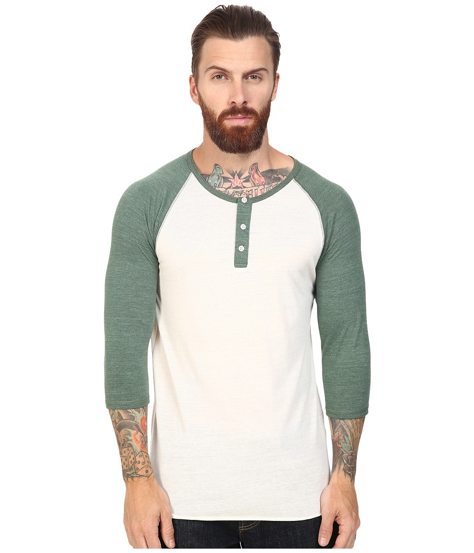 Alternative - 3/4 Raglan Henley (Eco Ivory/Eco True Dusty Pine) Men's Long Sleeve Pullover