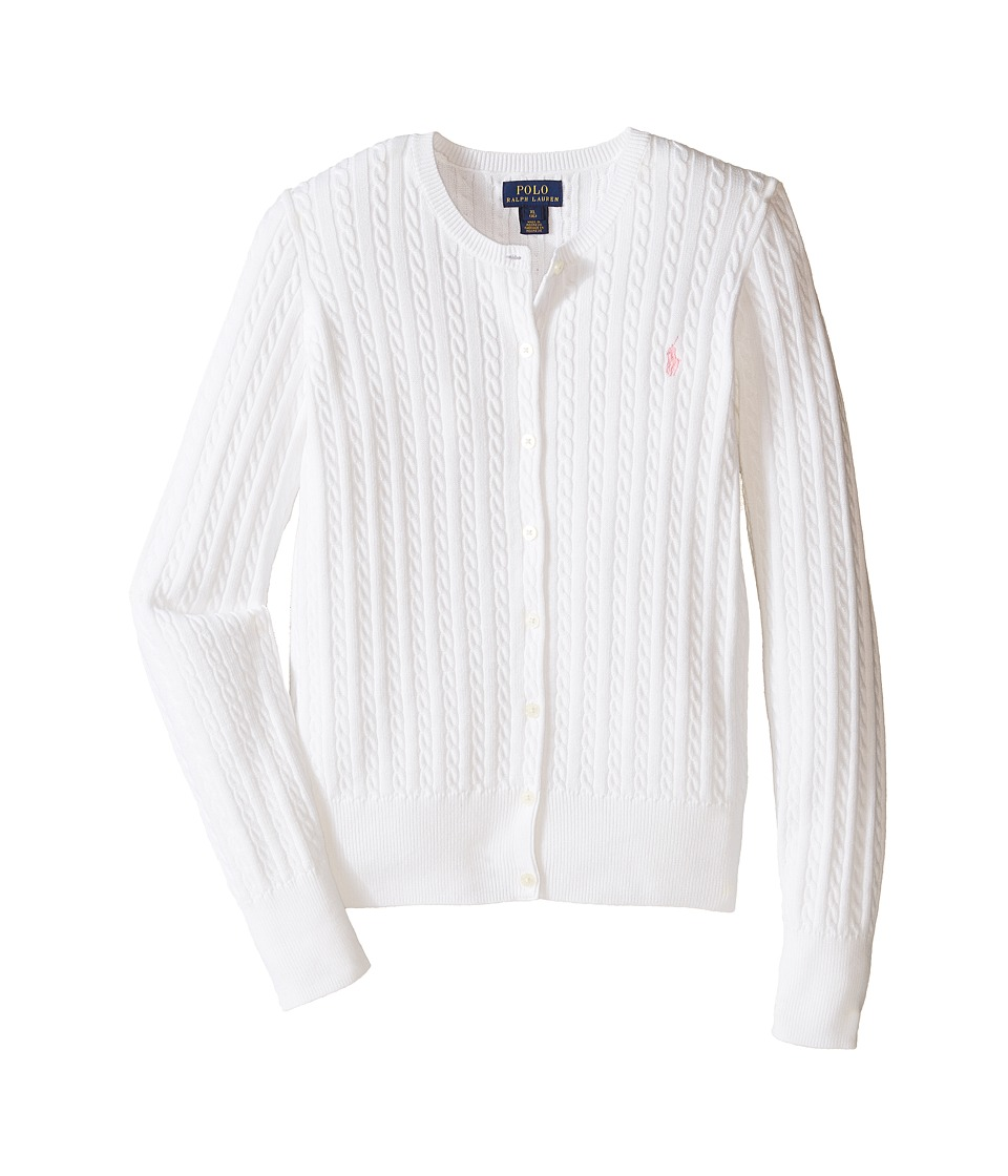 Polo Ralph Lauren Kids - Mini Cable Sweater (Little Kids/Big Kids) (White) Girl's Sweater