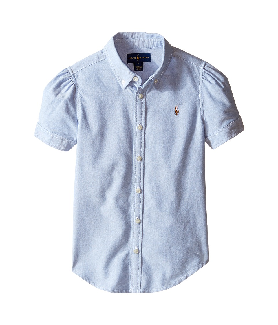 Polo Ralph Lauren Kids - Classic Solid Oxford Shirt (Big Kids) (BSR Blue) Girl's Long Sleeve Button Up