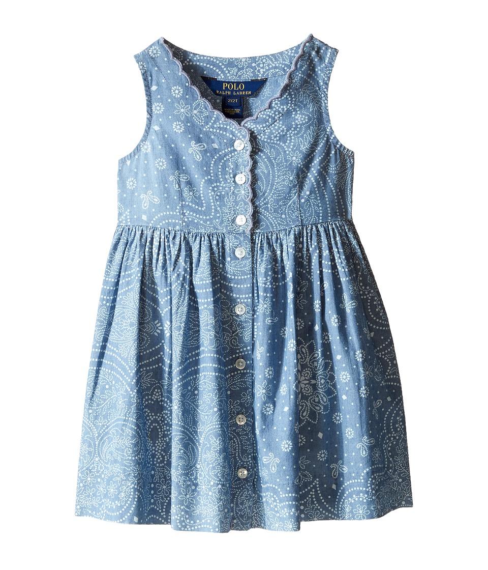 Polo Ralph Lauren Kids - Chambray Woven Dress (Toddler) (Indigo/Cream) Girl's Dress