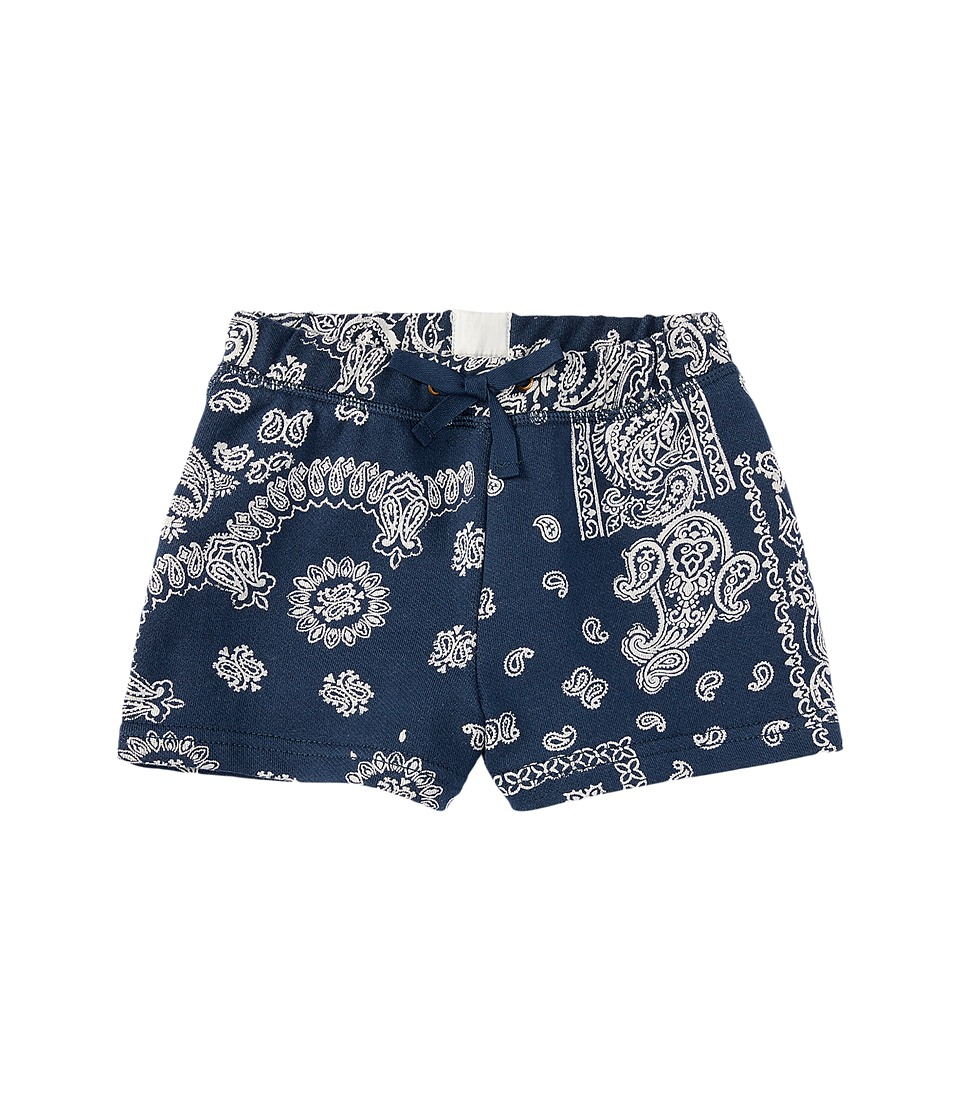 Polo Ralph Lauren Kids - French Terry Bandana Shorts (Toddler) (Navy/Cream Multi) Girl's Shorts
