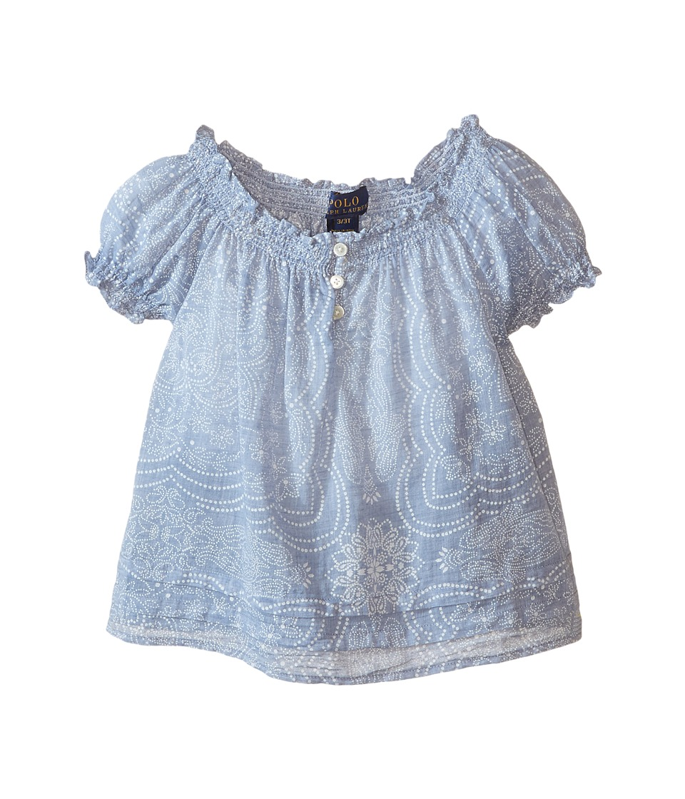 Polo Ralph Lauren Kids - Gauze Boho Top (Toddler) (Blue/Cream) Girl's Clothing