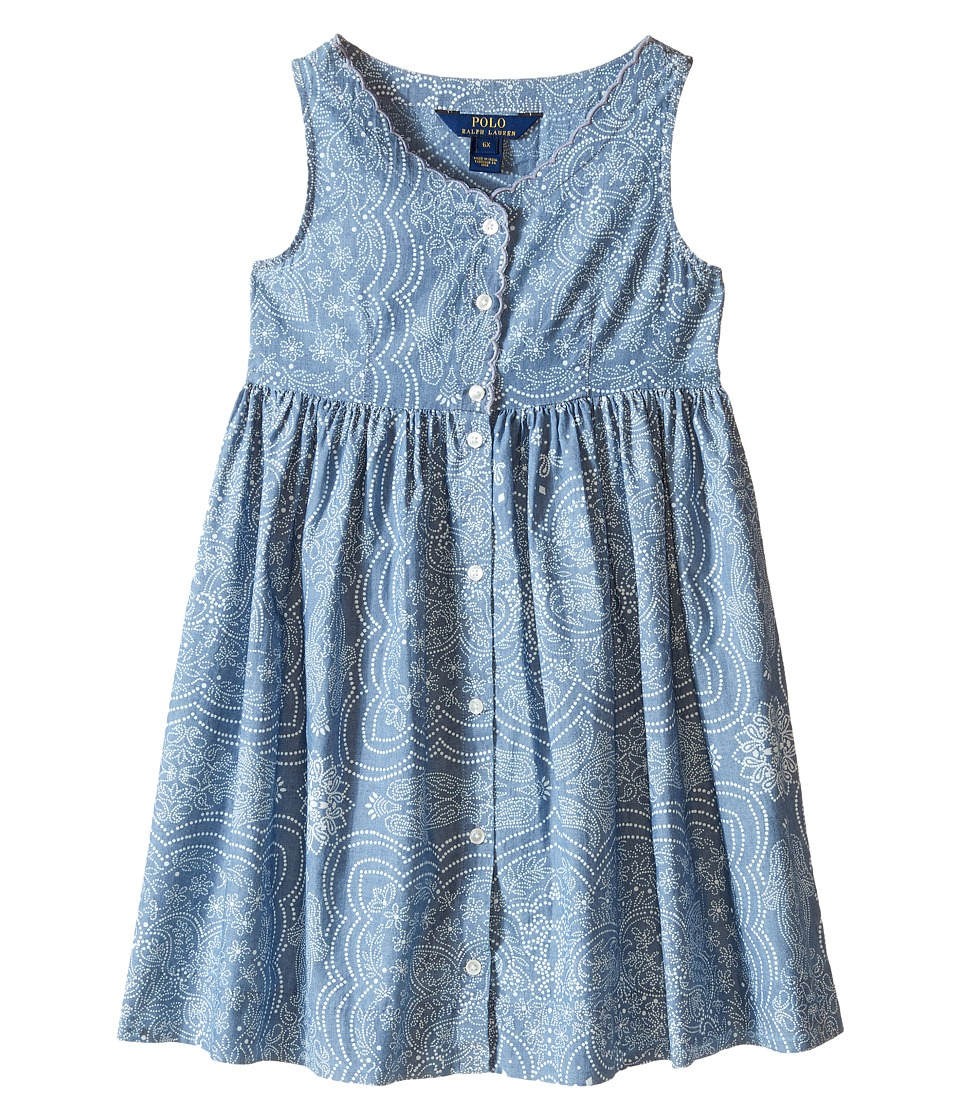 Polo Ralph Lauren Kids - Chambray Dress (Little Kids) (Indigo/Cream) Girl's Dress