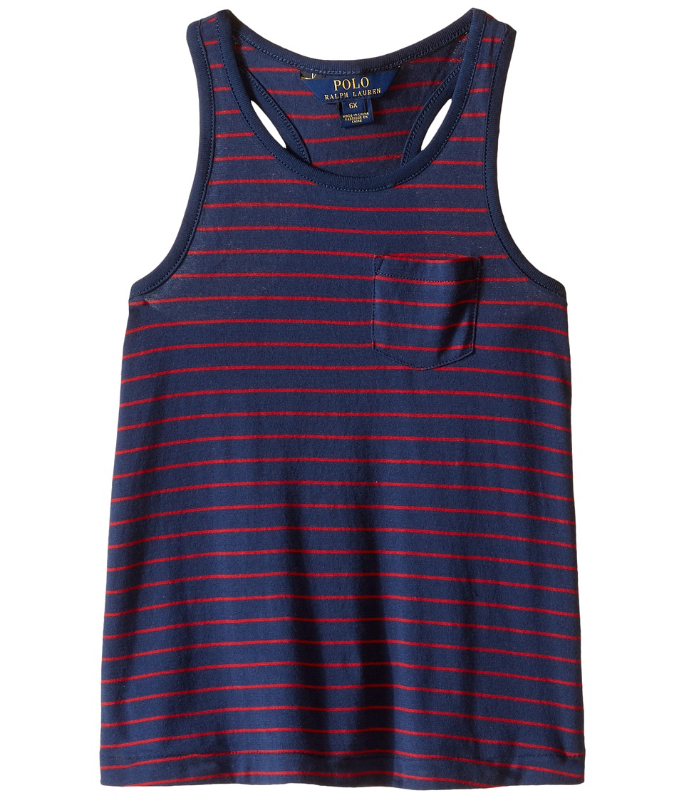 Polo Ralph Lauren Kids - Jersey Stripe Tank Top (Little Kids) (Summer Navy) Girl's Sleeveless
