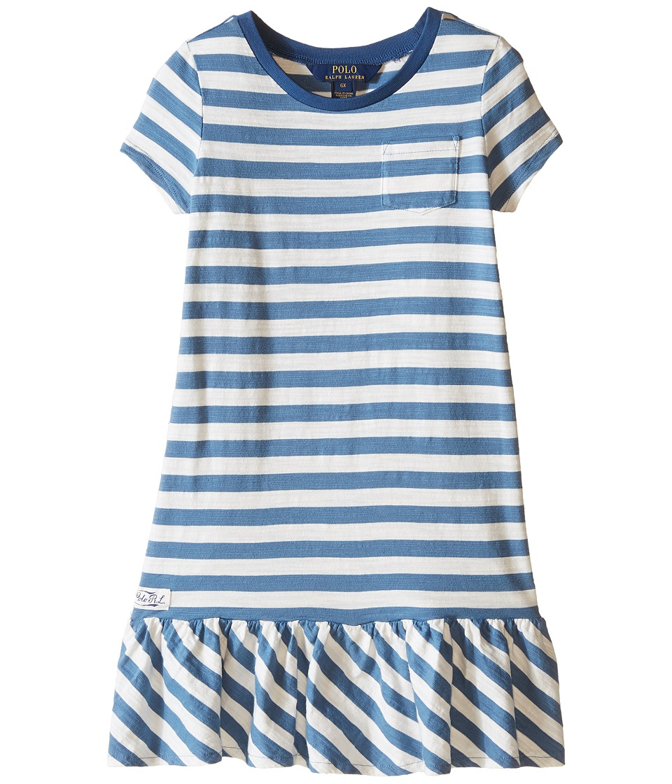 Polo Ralph Lauren Kids - Jersey Stripe Dress (Little Kids) (Marine Blue/Baxter Cream) Girl's Dress