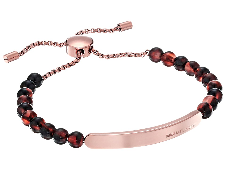 Michael Kors - Logo Plaque Slider Bracelet (Rose Gold/Blush Tortoise) Bracelet