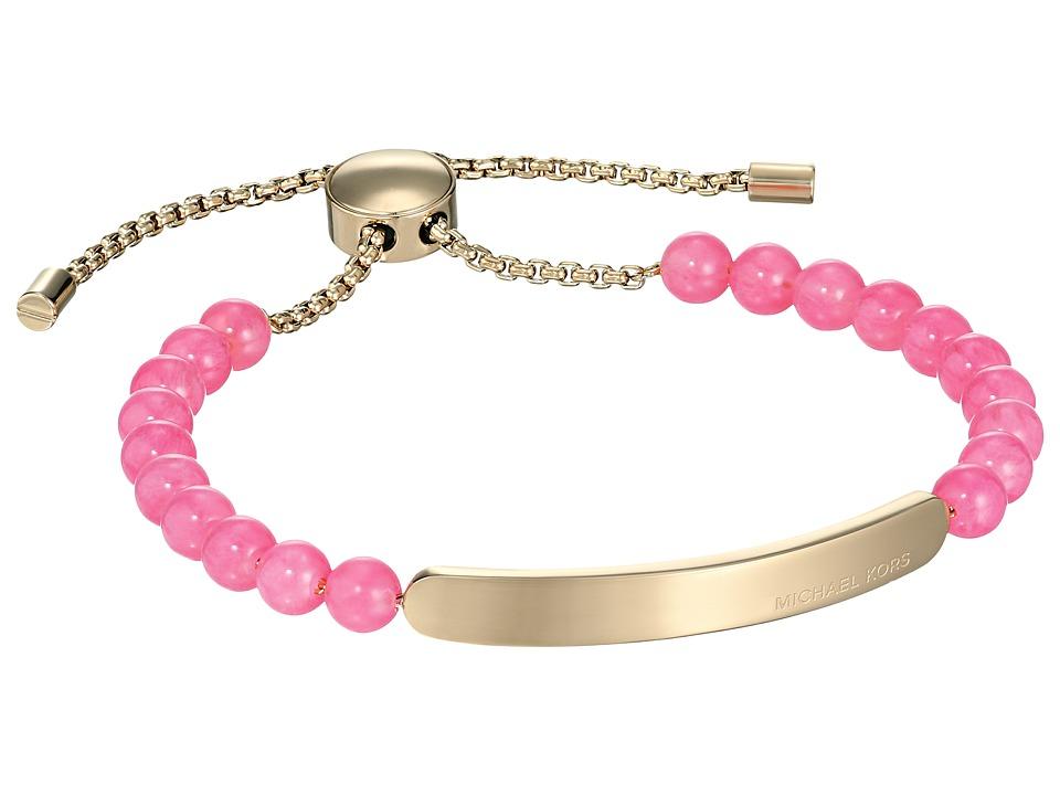 Michael Kors - Logo Plaque Slider Bracelet (Gold/Pink Quartz) Bracelet