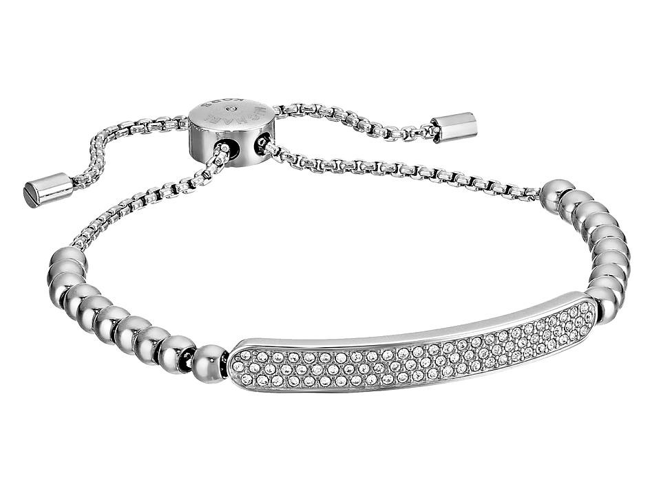 Michael Kors - Logo Plaque Slider Bracelet (Silver/Clear) Bracelet