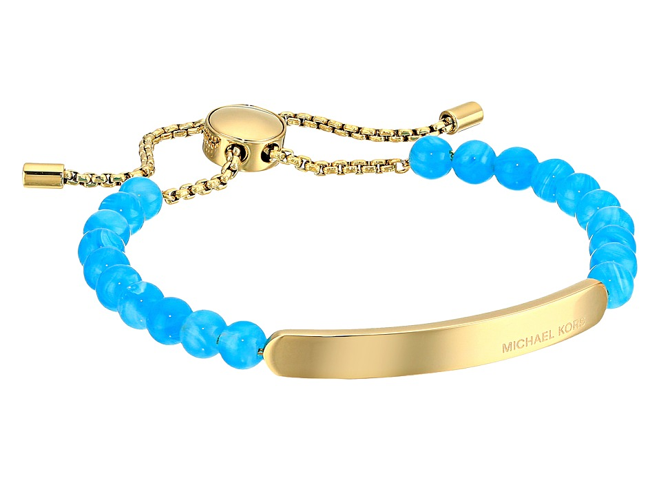 Michael Kors - Logo Plaque Slider Bracelet (Gold/Lagoon) Bracelet
