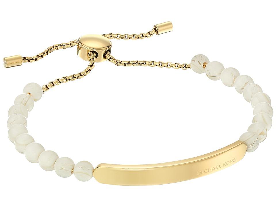 Michael Kors - Logo Plaque Slider Bracelet (Gold/White Alabaster) Bracelet
