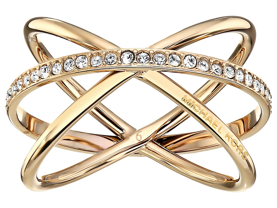 Michael Kors - Brilliance Criss Cross Ring (Gold/Clear 1) Ring