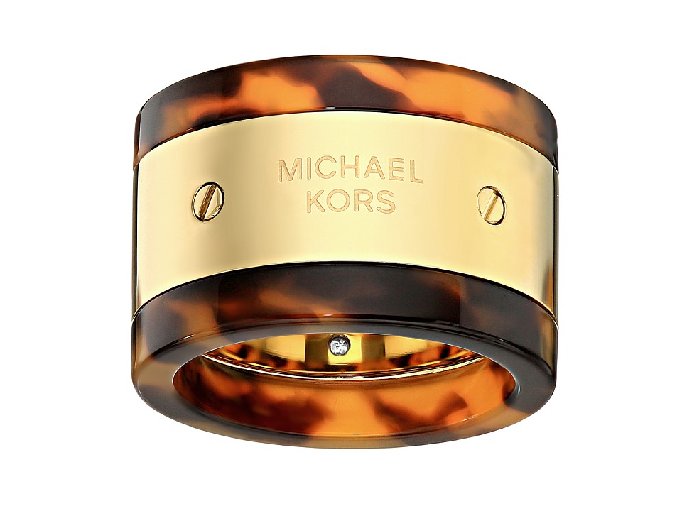 Michael Kors - MK Logo Plaque Ring (Gold/Tortoise 1) Ring
