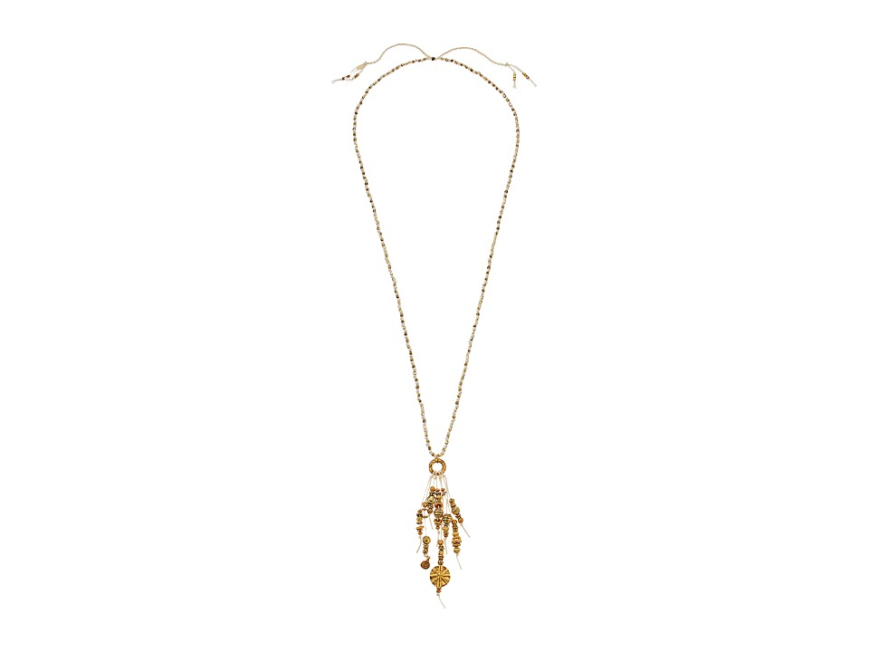 Chan Luu - 30' Adjustable Almond Oil Cotton Cord Necklace with Tassles (Almond Oil) Necklace