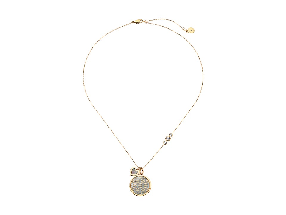 Michael Kors - Mother-of-Pearl Monogram Necklace (Gold/Mother-of-Pearl/Clear) Necklace