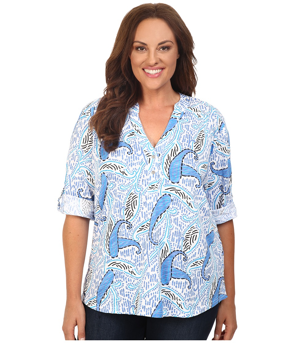 Extra Fresh by Fresh Produce - Plus Size Paisley Dockside Henley (White) Women's Clothing