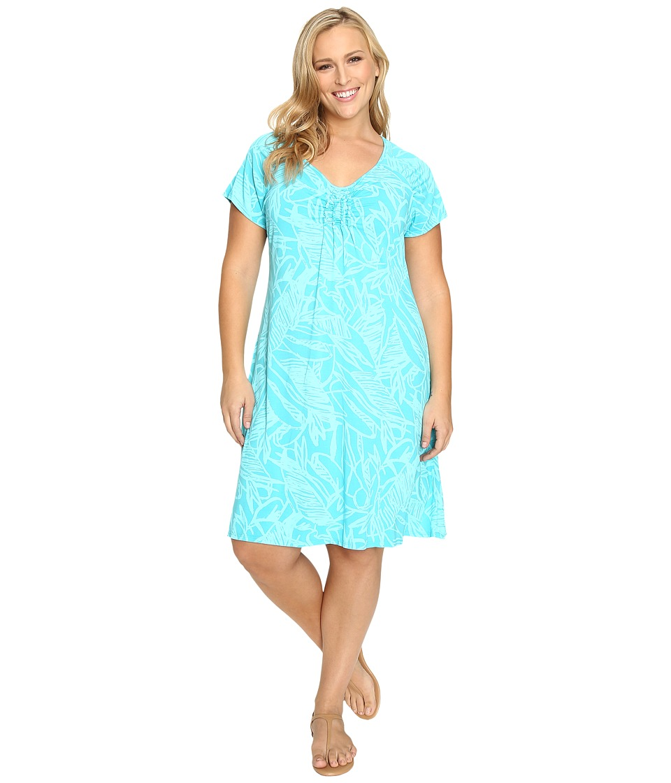 Extra Fresh by Fresh Produce - Plus Size Cancun Effortless Dress (Luna Turquoise) Women's Dress