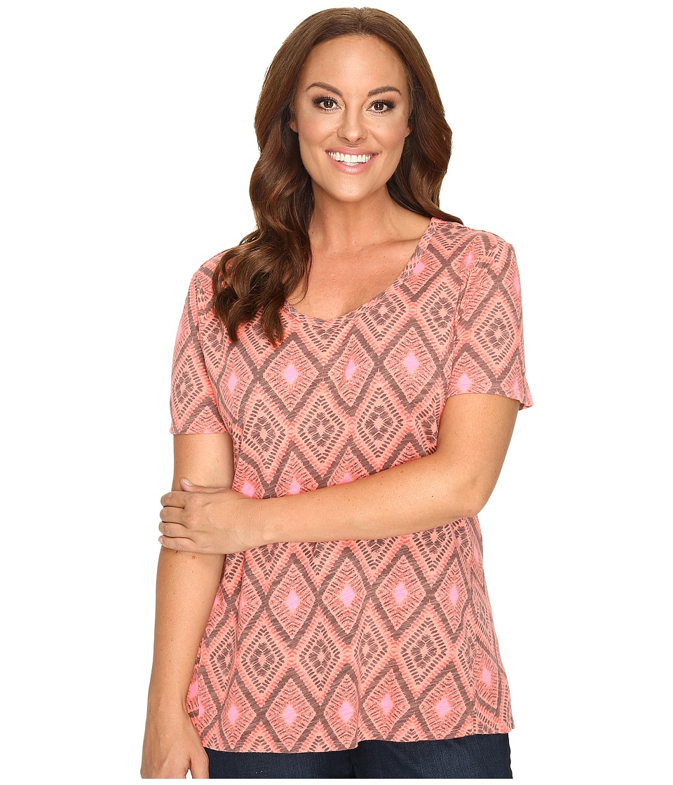 Extra Fresh by Fresh Produce - Plus Size Diamonds Luna Top (Melon Sherbet Pink) Women's Clothing