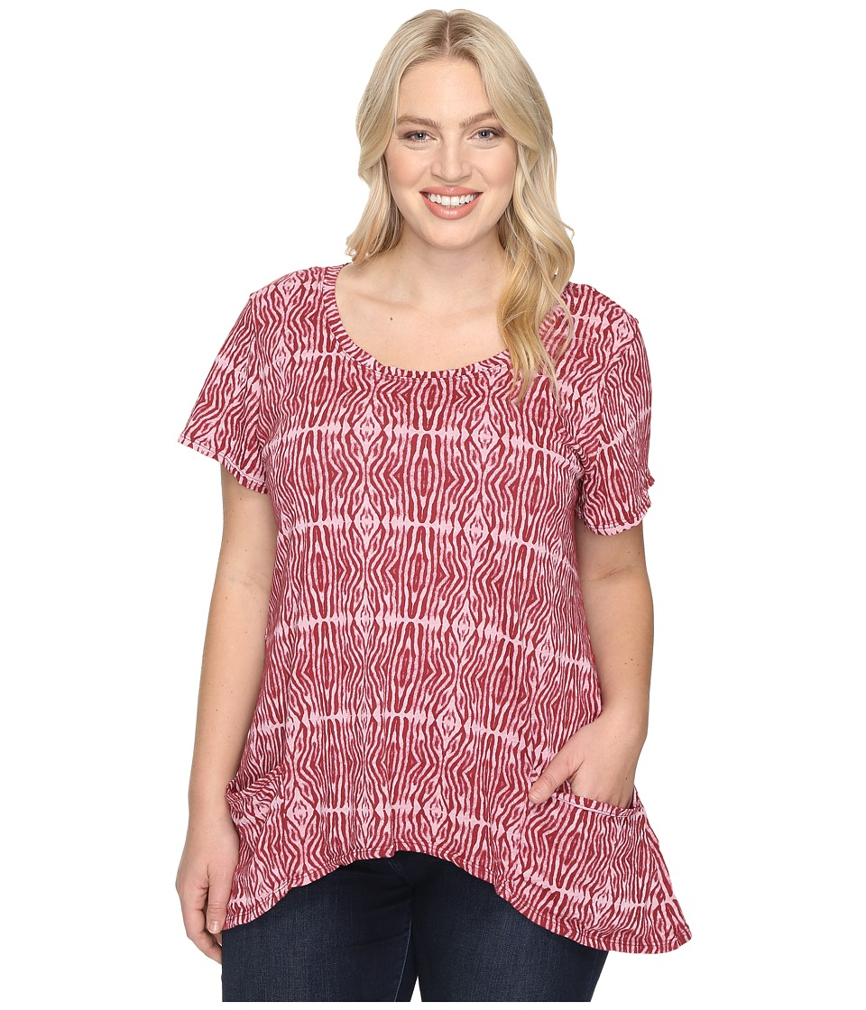 Extra Fresh by Fresh Produce - Plus Size Serengeti Twin Peaks Top (Burgundy Red) Women's Clothing