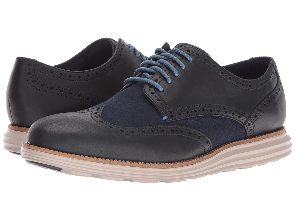 Cole Haan - Original Grand Wing Oxford (Dark Night Leather/Blue Plaid/Cobblestone) Men's Lace up casual Shoes