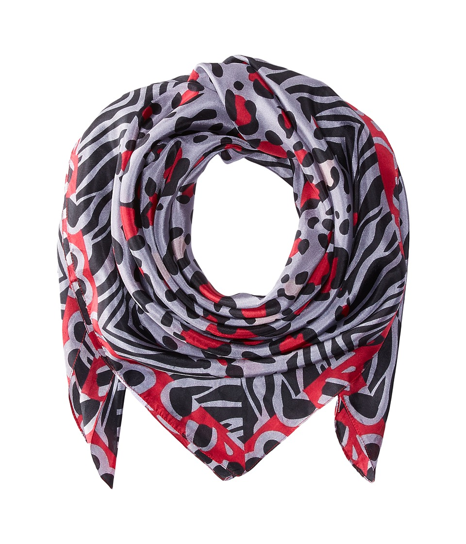 Bindya - Lulla by Bindya Animal Silk Print (Black/White/Pink) Scarves