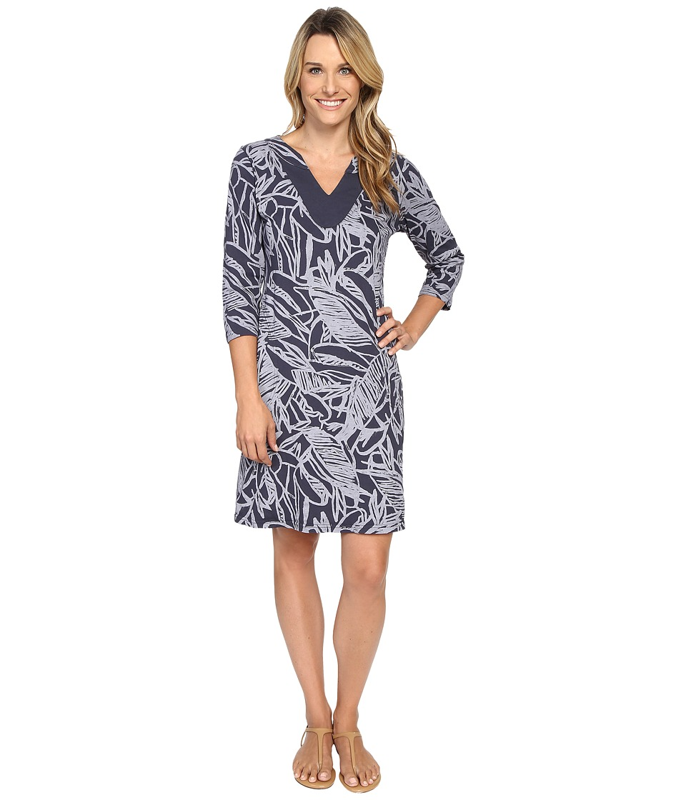 Fresh Produce - Cancun 3/4 Sleeve Notch Dress (Charcoal Grey) Women's Dress