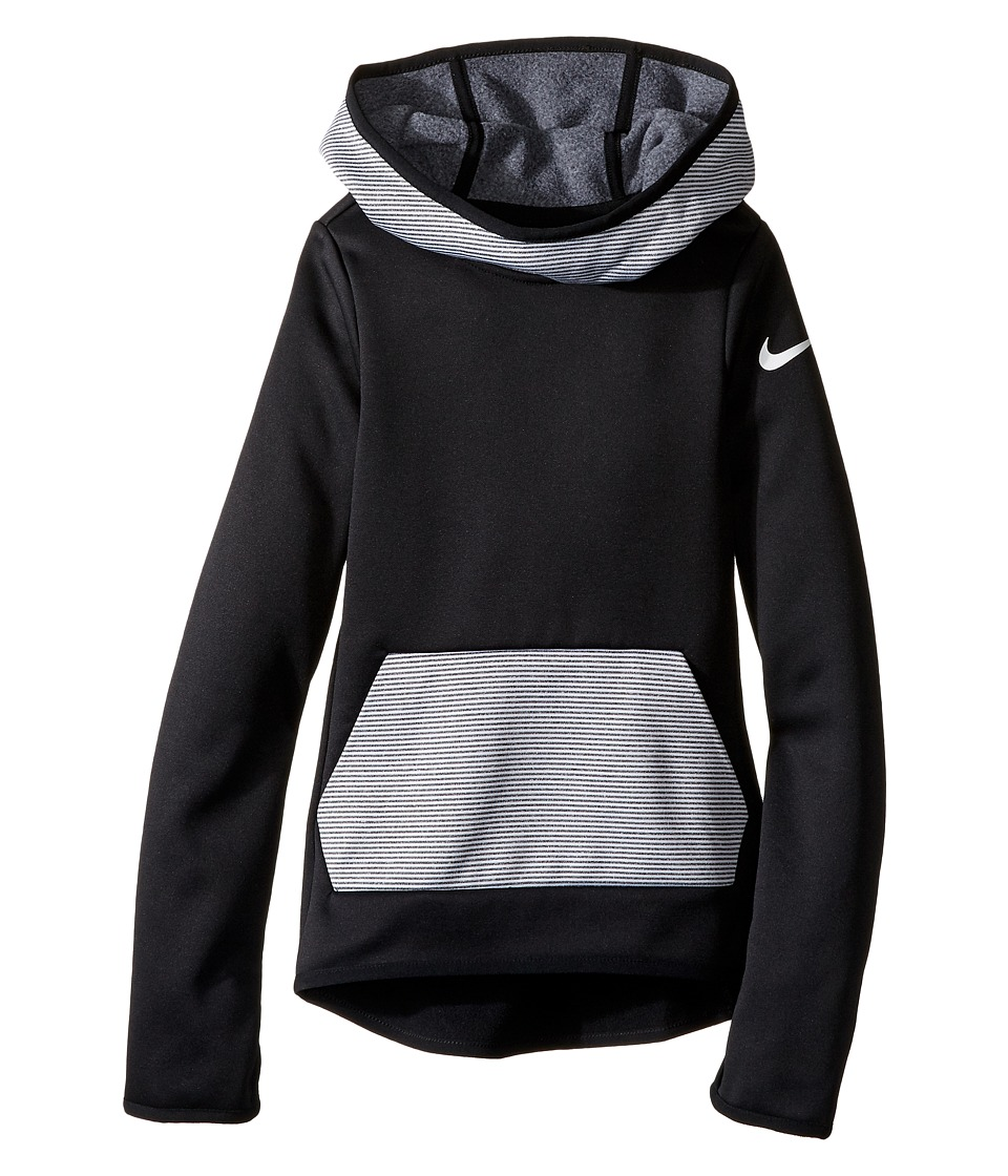 Nike Kids - Therma Training Hoodie (Little Kids/Big Kids) (Black/Black/White) Girl's Sweatshirt