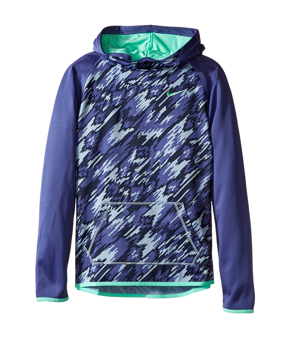 Nike Kids - Therma Training Print Hoodie (Little Kids/Big Kids) (Dark Purple Dust/Dark Purple Dust/Green Glow) Girl's Sweatshirt