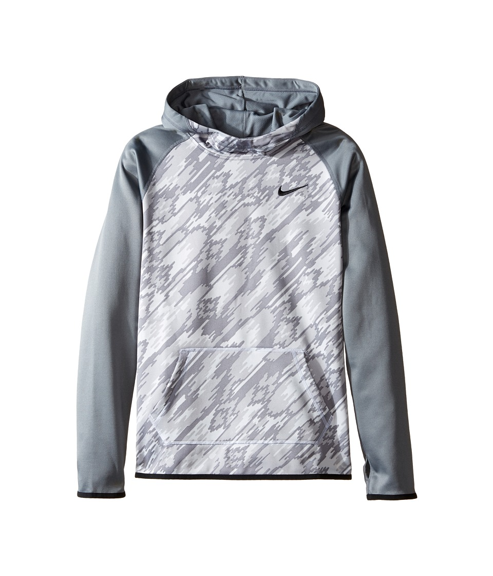 Nike Kids - Therma Training Print Hoodie (Little Kids/Big Kids) (Cool Grey/Cool Grey/Black) Girl's Sweatshirt